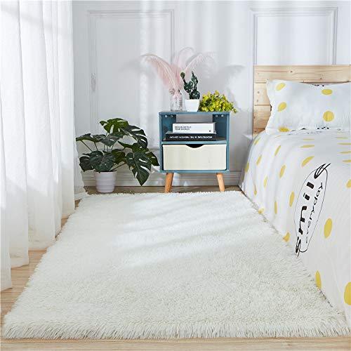 Faux Sheepskin Fur Rug,Soft Faux Fur Rugs Sheepskin Area Rug Window Beside Carpets Fluffy Floor Mat Luxurious Home Decor,6ft x 9ft,White