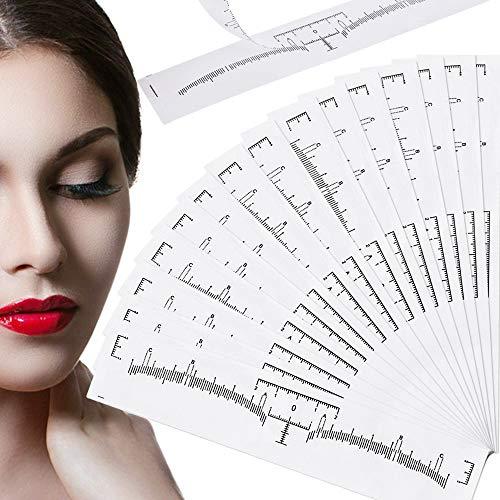 100 Pièces Règle de Sourcil, Jetable Autocollant de Règle de Sourcil, Sourcils Tatouage Autocollant de Positionnement, Règle de Microblading de Sourcil Adhésif pour Maquillage Mesure Guide