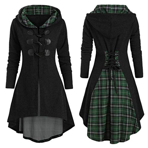 TwoCC Oversize Hooded Langarm Lace Up Frauen Plus Size Plaid Hupenknopf Lace Up High Low Kapuzenbluse (Schwarz,3XL)