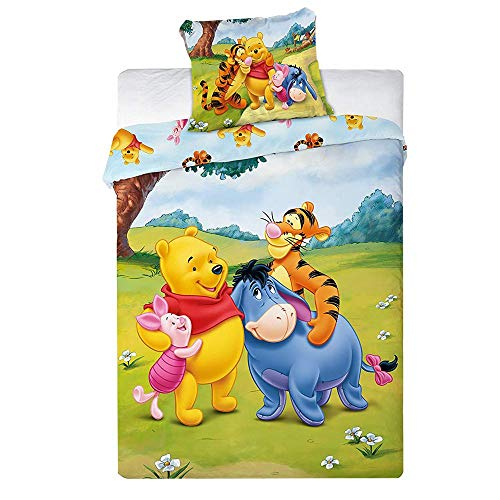 TFBBK Children's Bed Linen, with Disney Winnie The Pooh Motif, 2-Piece Set, 100 x 135 cm and 40 x 60 cm