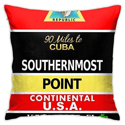 Not Applicable Couch Cushions Southernmost Point Buoy Key West Dormitory 45X45Cm Anime Throw Pillow Covers Oficina Hogar Decorativo con Cremallera Dormitorio Cuadrado Sala De Estar Regalos De CU