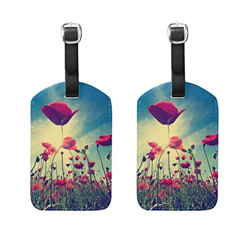 COOSUN Red Poppy Flowers Luggage Tags Travel Labels Tag Name Card Holder for Baggage Suitcase Bag Backpacks, 2 PCS