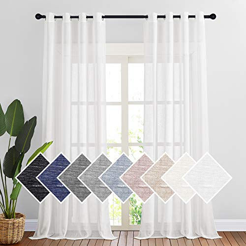 """NICETOWN Privacy White Sheer Linen Curtains Extra Long 108"""" Long, Grommet Natural Open Linen Elegant Vertical Semitransparent Panels for Farmhouse/French Door, 104"""" W Total 2 Panels"""