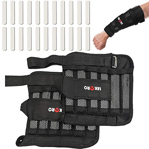 LEKÄRO Wrist Arm Weights Removable Wrist Ankle Weights 11LB Adjustable Ankle Weights Weight Straps for Fitness for Men Women for Walking Jogging Gymnastics Aerobics 1Pair 2 Pack