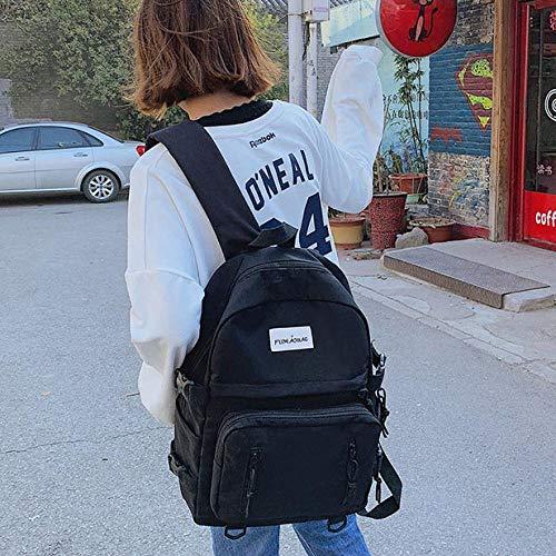 Rucksack Canvas Wasserdichter Rucksack Damen Umhängetasche Lässig Alphabet Rucksack Für Teen Mädchen Weibliche Schultasche Schwarz