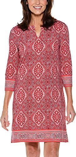 Coolibar Oceanside Tunika-Kleid, UPF 50+, Sonnenschutz -  Orange -  Groß