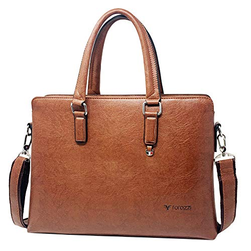 Office Business Briefcase, Leather Messenger Bag for Men, Fits 15.6-Inch Laptop