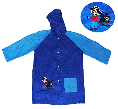 alles-meine.de GmbH Regenmantel mit Kapuze / Regenjacke -  Pirat / Seefahrer  - Gr. 116 - 122 _ für 5 bis 6 Jahre - für Kinder - Jungen Fahrrad Piraten / Regen Jacke - Regenpon..