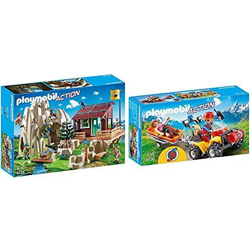 Playmobil-Escaladores con Refugio, Multicolor, Sin tañosllaños (9126) + Quad de Rescate de Montaña (9130)