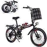 YANJ Bicyclette pour Adulte Pliant, Vitesse Variable de 26 Pouces Portable à vélo de Bicyclette d'amortisseur Amortisseur Avant et arrière Double DisceChage renforcé Cadre Anti-dérapage (Color : Red)