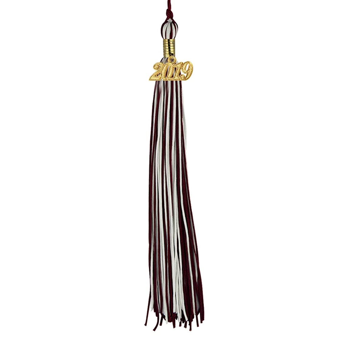 COKOSIM Two-Colored Graduation Tassel with Gold 2019 Year Charm 9-inch (Maroon/White)