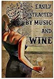 Music and Wine Cartel de chapa de metal,Easily Distracted by Music and...