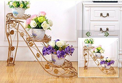 WEBO Home- Ensemble de Fleurs en Fer à Fleurs à Plusieurs étages Salon intérieur et extérieur Balcon Talons Hauts crémaillère créative -Étagère (Couleur : Earthly Gold, Taille : 73 * 25 * 54cm)