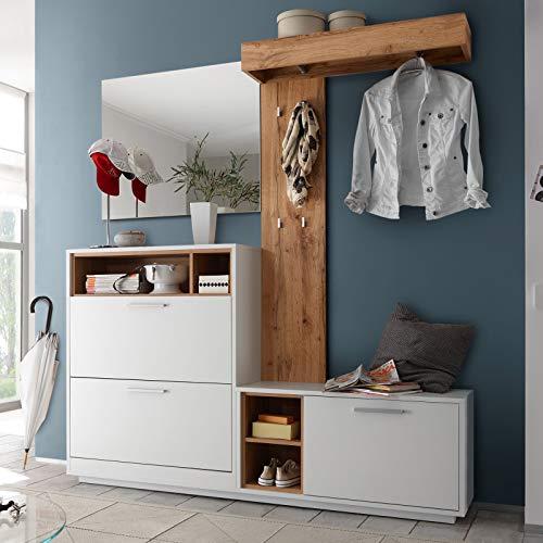 Stella Trading Garderobe Weiß Kompaktgarderobe, Absetzung Wildeiche Dekor, BxHxT 177 x 195 x 32 cm