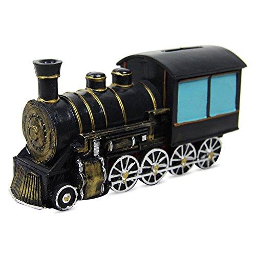 Spardose Polyresin Eisenbahn schwarz mit Schloss 16,5x9cm