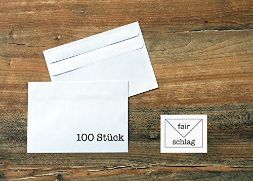 100 Briefumschläge - C6 - weiß mit grauem Innendruck - selbtklebend - ohne Fenster