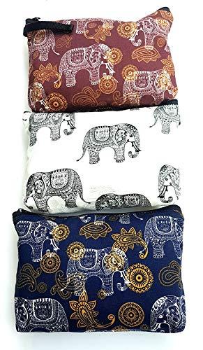 MY HOPE Cosmetic Purse Elephant Pattern 3 Pcs Crimson, White, Blue Color