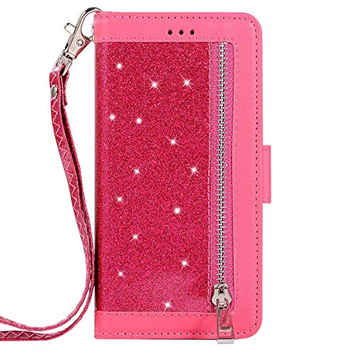 Herbests Compatible with iPhone 6S 4.7 Wallet Case Luxury Bling Glitter Multi-Functional Zipper Leather Flip Cover 9 Credit Card Holders Magnetic Purse Cover with Wrist Strap,Rose Red
