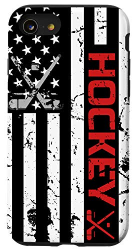 iPhone SE (2020) / 7 / 8 Hockey phone case Red American Flag gift Hockey Lover Case