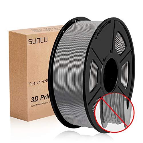 SUNLU PLA + Filamento Gris 1,75 +/- 0,02 mm, Filamento de impresora 3D PLA Plus 1,75 mm 1 kg Carrete para impresión 3D