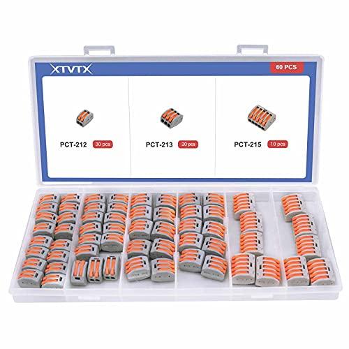 XTVTX 60 PZ Connettore dado leva Terminale dei blocchi dei connettori elettrici Assortimento di kit PCT-212 (30) PCT-213 (20) PCT-215 (10) per cavi