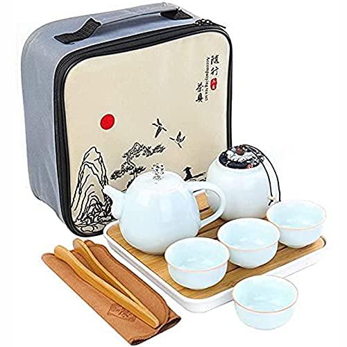 Juego de té de cerámica portátil portátil vintage chino/japonés hecho a mano con tetera cerámica, 4 tazas de té, bandeja de té de bambú, estera de té y bolso de vi