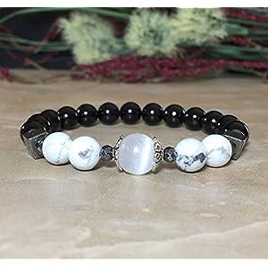 Selenite, White Howlite, Black Tourmaline Bracelet | Protection Against Negativity, Balance, Serenity, Peace