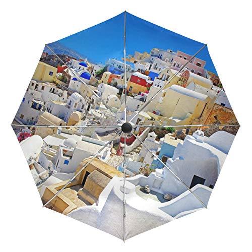 LUPINZ - Paraguas de autoapertura Santorini Caldera con Pegamento Negro Exterior Anti UV Resistente al Viento