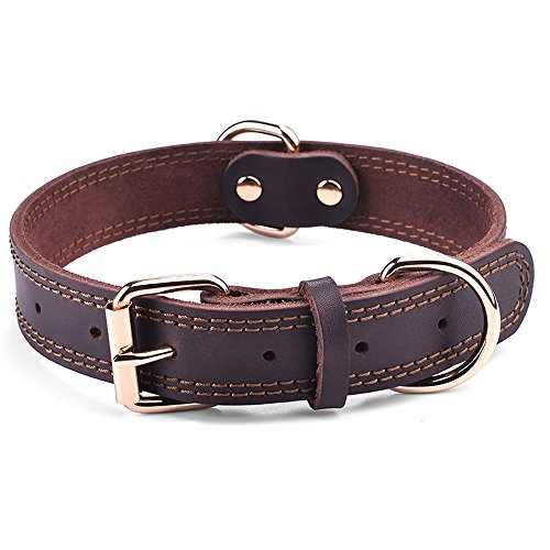 DAIHAQIKO Leather Dog Collar Genuine Leather Alloy Hardware Double D-Ring Dual Stitching 3 Best for Medium Large and Extra Large Dogs (L, Brown)