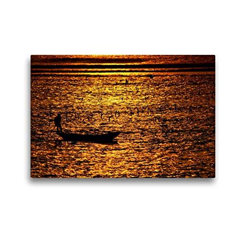 CALVENDO Premium Textil-Leinwand 45 x 30 cm Quer-Format Mann mit Boot bei der Algenernte, Bali, Leinwanddruck von Céline Baur
