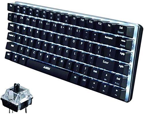 UrChoiceLtd AK33 Hintergrundbeleuchtetes USB-Kabel Gaming Mechanische Tastatur Blau Schwarz Schalter Tastatur für Büro, Schreibkräfte und Spiele (Schwarzer Schalter, Schwarz)