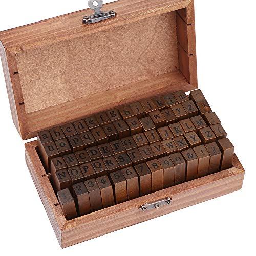 Mitening Stempel Set Alphabet Buchstaben Letters Ziffer Zahlen Geburtstag 70tlg in Holzkiste, Buchstaben Anzahl Symbol für Advent, Kunst, Handwerk