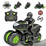 Fnsky RC Motorräder Spielzeug, ferngesteuertes Motorrad, 360 ° drehbar, Drift Stunt Motorrad, 2,4 GHz Rennauto Spielzeug Geschenke für Kinder -