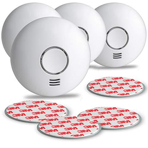SEBSON Rauchwarnmelder Funk mit Hitzewarnmelder, DIN EN 14604 Zertifiziert, fotoelektrischer Rauchmelder vernetzbar, inkl. Magnetbefestigung, 4er Pack