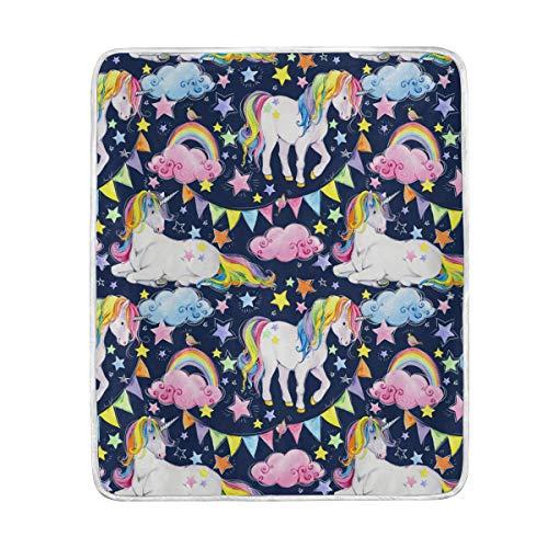 LIUBT Manta de Unicornio con Estampado Floral arcoíris Suave y cálida para Cama, sofá, Viajes, Camping, 60 x 50 Pulgadas