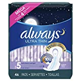 Always Ultra Thin Feminine Pads for Women, Size 5, Extra Heavy, Overnight Absorbency, with Flexi-Wings, Unscented, 46 Count, Pack of 4