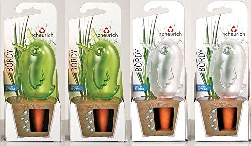 """Wasserspender, Bewässerungskugel, 4er Set \""""Bördy\"""" in verschiedenen Farben und Größen (15 cm, Grün / Transparent)"""