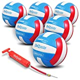 GoSports Soft Touch Recreational Volleyball | Regulation Size for Indoor or Outdoor Play | Includes Ball Pump - Choose Between Single or 6 Pack, Six Pack