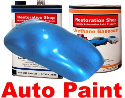 Restoration Shop - Electric Blue Metallic Urethane Basecoat with Clearcoat Auto Paint - Complete Medium Gallon Paint Kit - Professional High Gloss Automotive, Car, Truck Refinish Coating