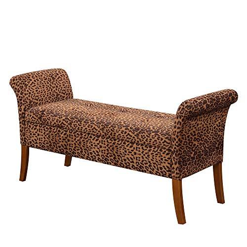 Convenience Concepts Designs4Comfort Garbo Storage Bench, Forest Leopard Print