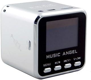 Music Angel JH-MD08D LCD Screen Mini Digital Speaker Clock Alarm TF MP3 Player FM Radio(Silver)