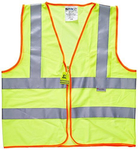 VizBrite ANSI Safety Vest with Pocket and Zipper - BEST 3M RETRO-REFLECTION HIGH VISIBILITY REFLECTIVE VEST - Professional Class 2 Neon Yellow & Orange Mesh Hi Vis Clothing for Bike Riding, Motorcycle Riders, and Construction Workers - Men & Women - (S) Small Size: Small Model: Misc.