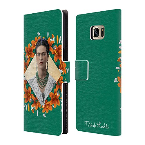Official Frida Kahlo Orange Lilies Portrait 2 Leather Book Wallet Case Cover Compatible For Samsung Galaxy S7 Edge