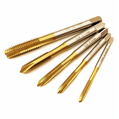 Tap & Die Set, 5Revêtement en titane HSS M3M4M5M6M8robinet de la main droite machine spirale point droite cannelée pas de vis Plug robinet et Taraud finisseur