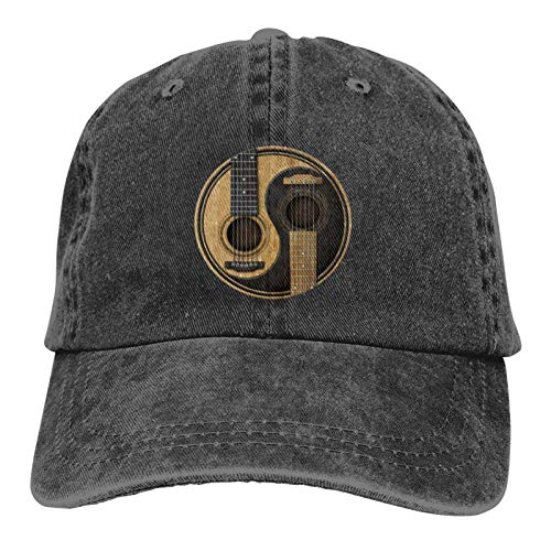 Old and Worn Acoustic Guitars Yin Yang Vintage Cowboy Hat Classic Sports Headgear Cotton Adjustable Baseball Cap for Men and Women Charcoal Gray