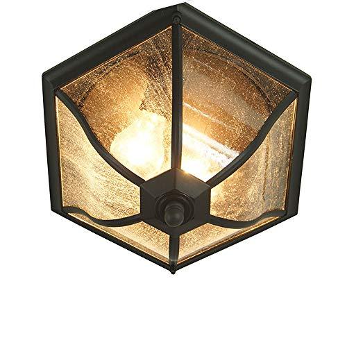 Plafonniers extérieurs à 2 lumières E27 Porch Patio Lampe à suspension industrielle étanche Loft Globe à usages multiples pour allée de jardin avec abat-jour en verre