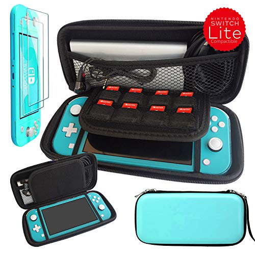 Kaya Switch Lite Carrying Case for Nintendo Switch Lite 2019, EVA Switch case with Inner Pocket. Including Crystal Clear Style Protective Cover Case, Tempered Glass Screen Protector. Turquoise