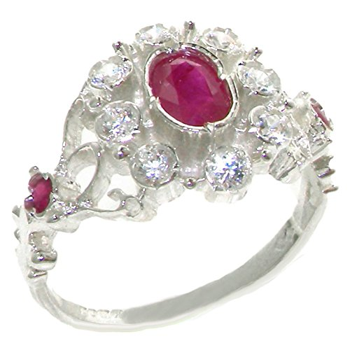 Solid 9ct White Gold Ladies Ruby & Diamond Vintage Cluster Ring - Size R