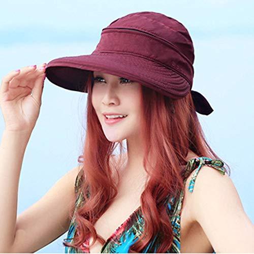 QND,Sombrero,Beach Bowknot Ladies Travel Viseras prácticas Senderismo al Aire Libre Sombrero para el Sol Gorra Plegable, Rojo, China