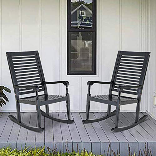 PHI VILLA Outdoor Rocking Chairs, Acacia Wood Rocker Chairs for Patio, Deck, Balcony or Porch, 30° Safe Recline Support 350lbs - 2 Piece Black